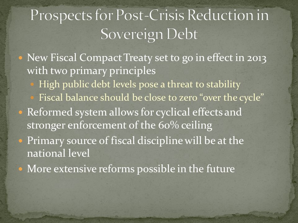 New Fiscal Compact Treaty set to go in effect in 2013 with two primary principles High public debt levels pose a threat to stability Fiscal balance sh