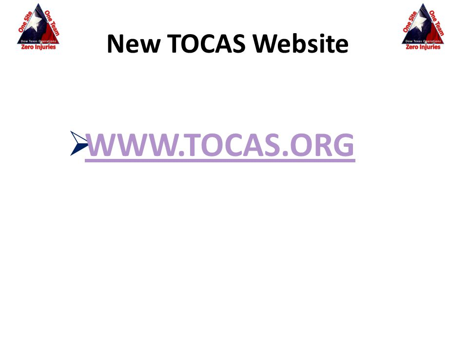  WWW.TOCAS.ORG WWW.TOCAS.ORG New TOCAS Website