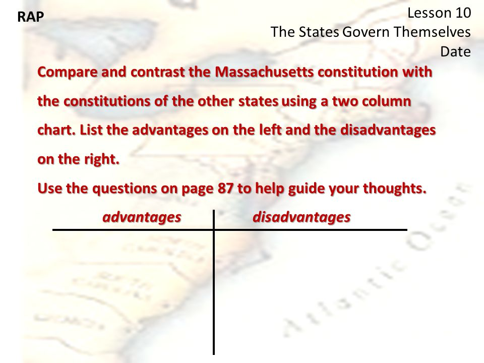 RAP Lesson 10 The States Govern Themselves Date Compare and contrast the Massachusetts constitution with the constitutions of the other states using a two column chart.