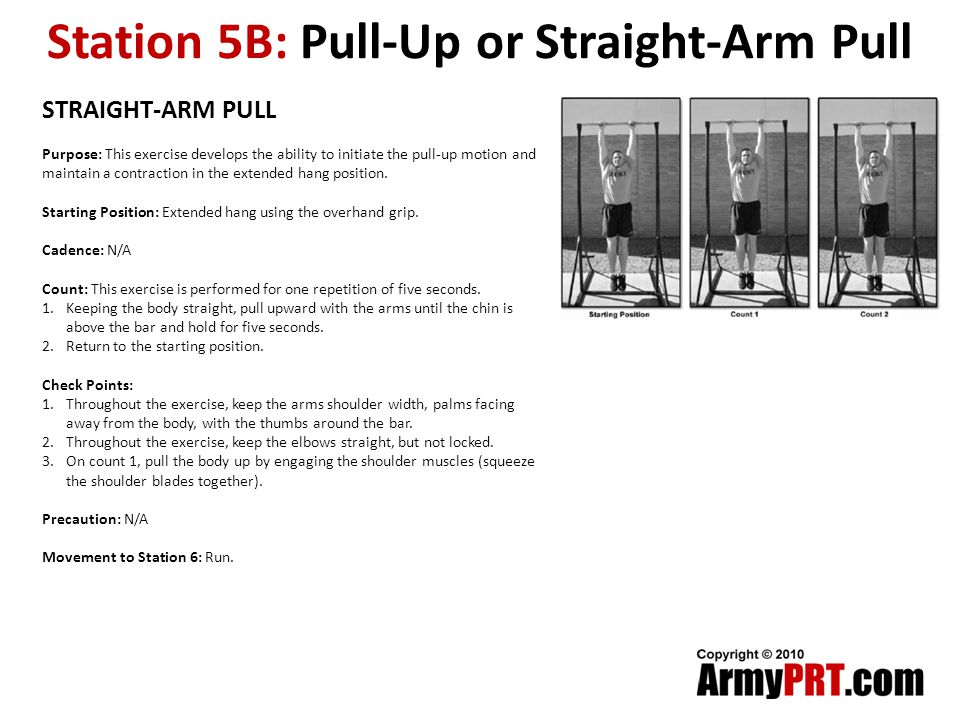 Station 5B: Pull-Up or Straight-Arm Pull STRAIGHT-ARM PULL Purpose: This exercise develops the ability to initiate the pull-up motion and maintain a contraction in the extended hang position.