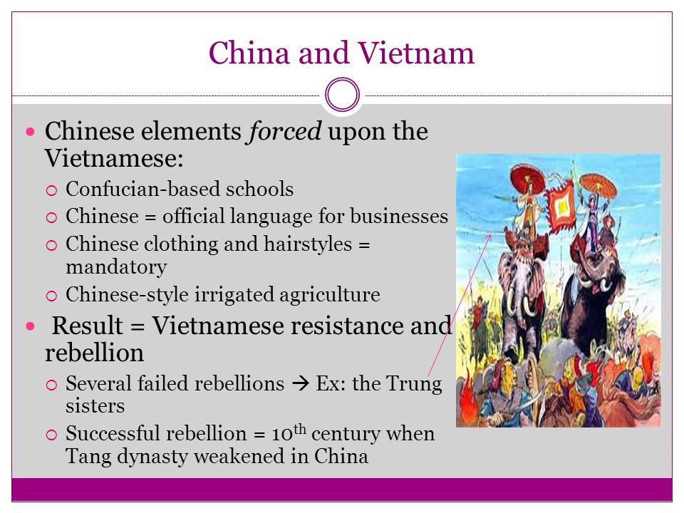 China and Vietnam Chinese elements forced upon the Vietnamese:  Confucian-based schools  Chinese = official language for businesses  Chinese clothi
