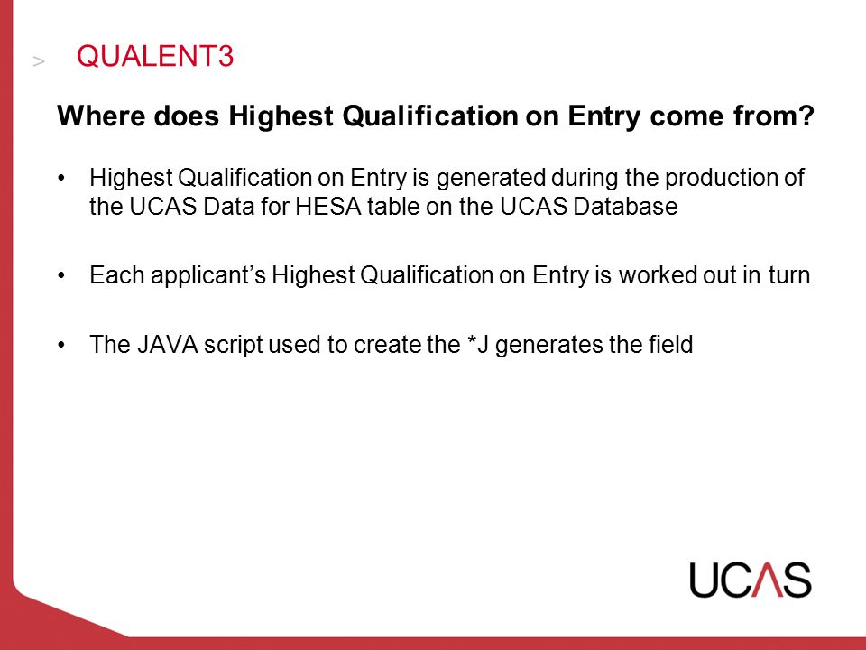 Where does Highest Qualification on Entry come from.
