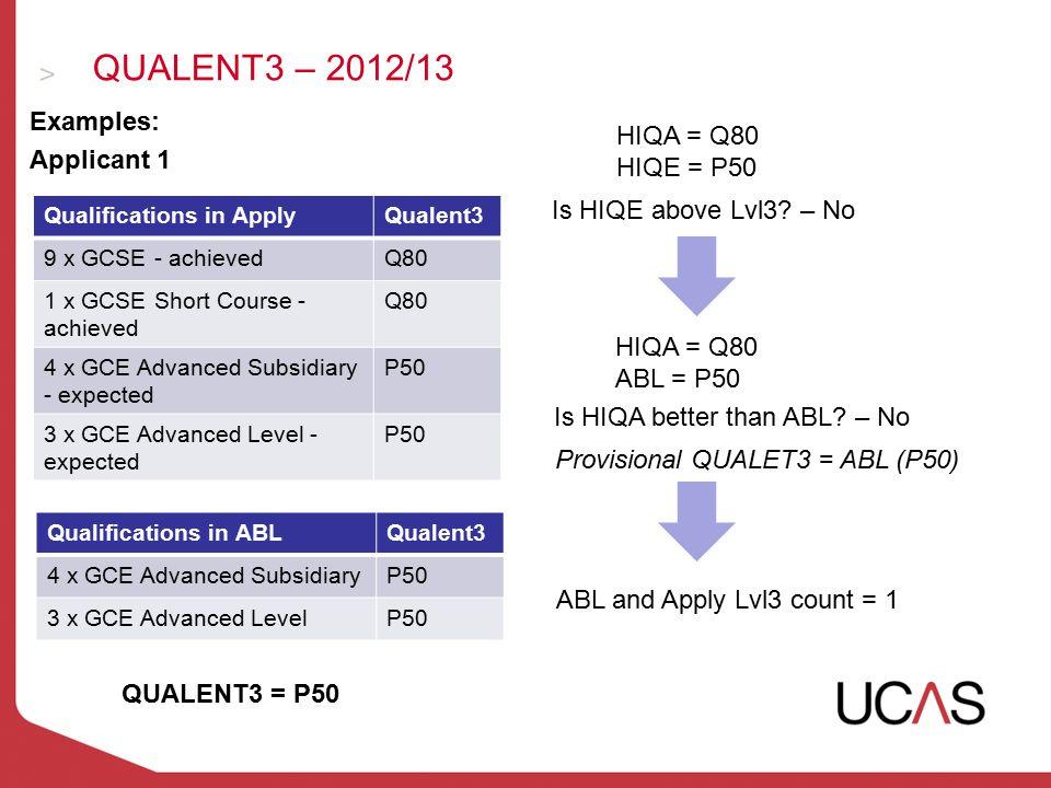 QUALENT3 – 2012/13 Examples: Applicant 1 Qualifications in ApplyQualent3 9 x GCSE - achievedQ80 1 x GCSE Short Course - achieved Q80 4 x GCE Advanced