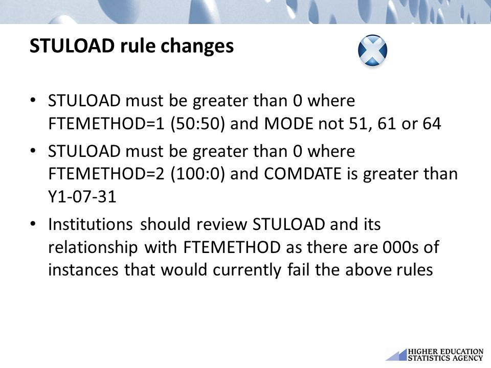STULOAD rule changes STULOAD must be greater than 0 where FTEMETHOD=1 (50:50) and MODE not 51, 61 or 64 STULOAD must be greater than 0 where FTEMETHOD