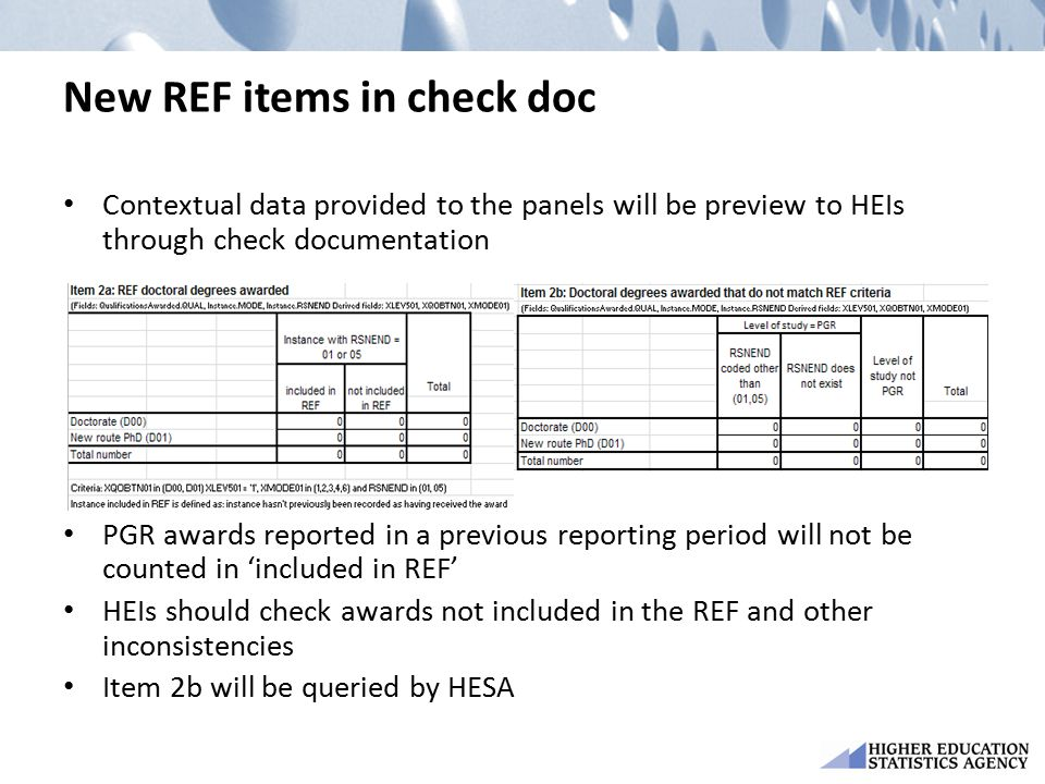 New REF items in check doc Contextual data provided to the panels will be preview to HEIs through check documentation PGR awards reported in a previou