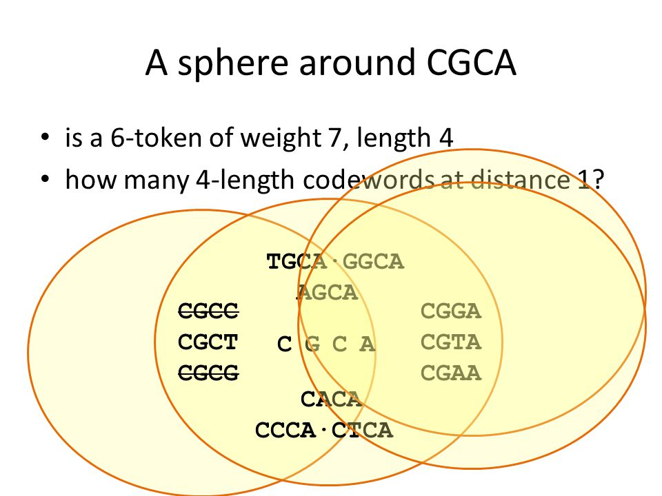 A sphere around CGCA C G CA is a 6-token of weight 7, length 4 how many 4-length codewords at distance 1.