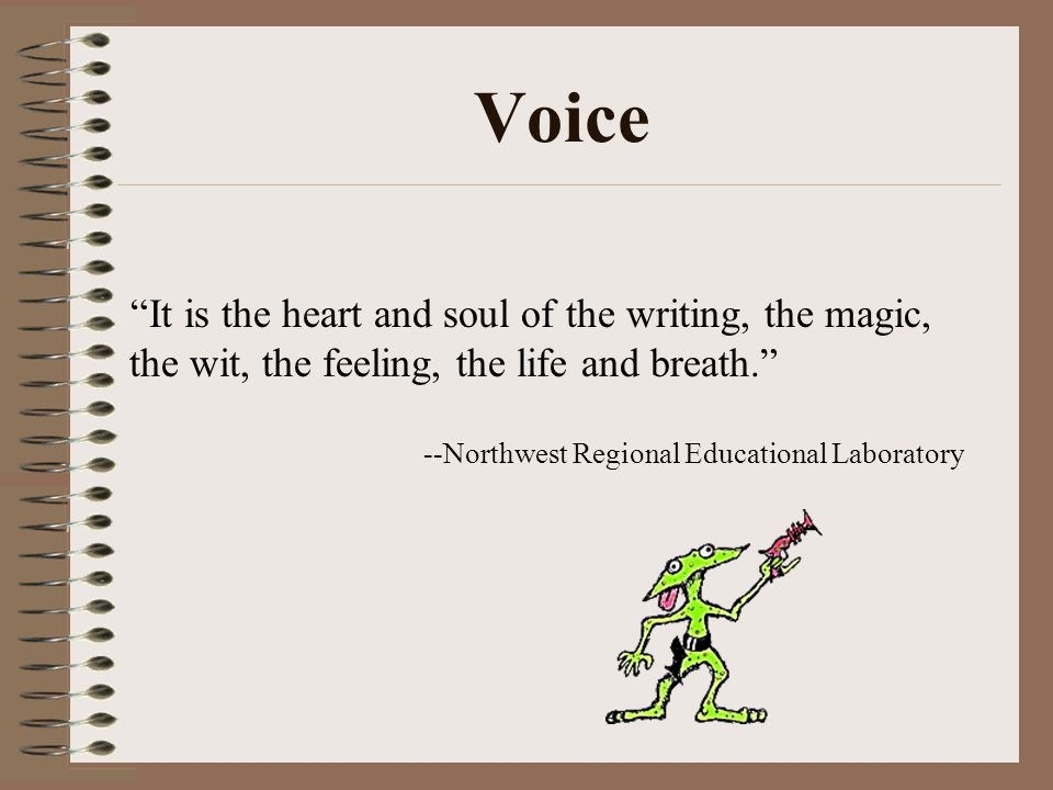 "Voice ""It is the heart and soul of the writing, the magic, the wit, the feeling, the life and breath."" --Northwest Regional Educational Laboratory"