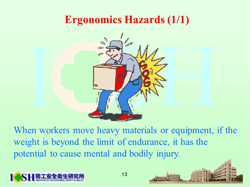 13 When workers move heavy materials or equipment, if the weight is beyond the limit of endurance, it has the potential to cause mental and bodily injury.