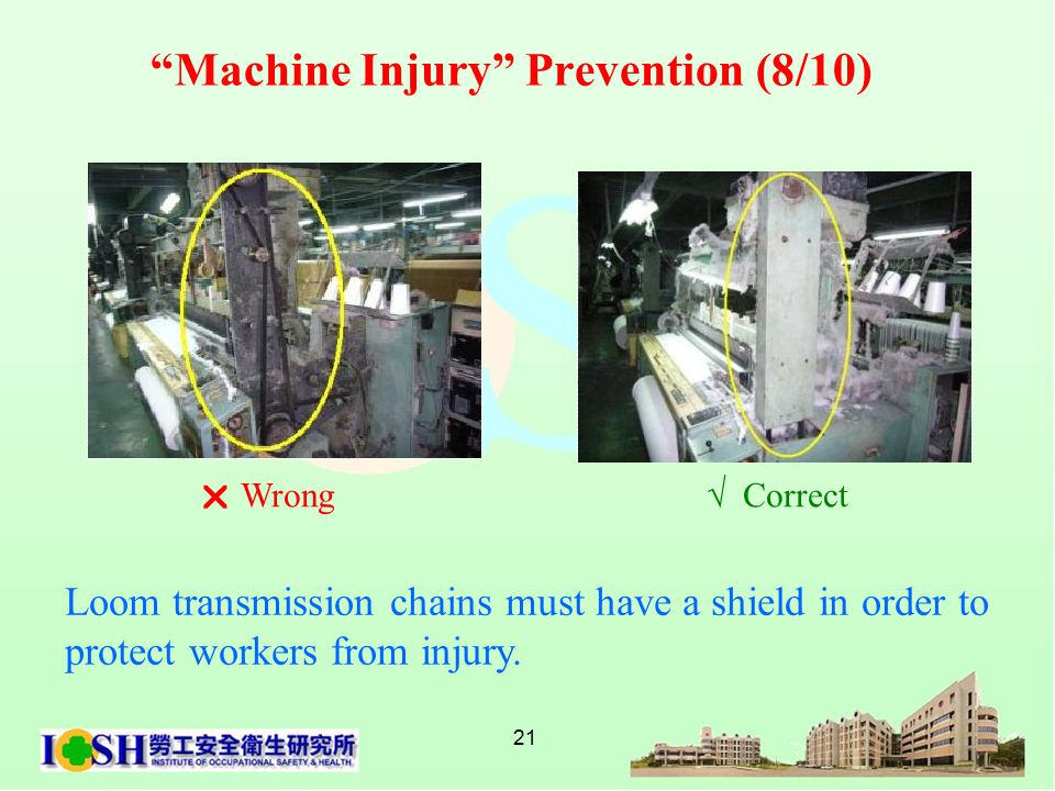 21 Loom transmission chains must have a shield in order to protect workers from injury.