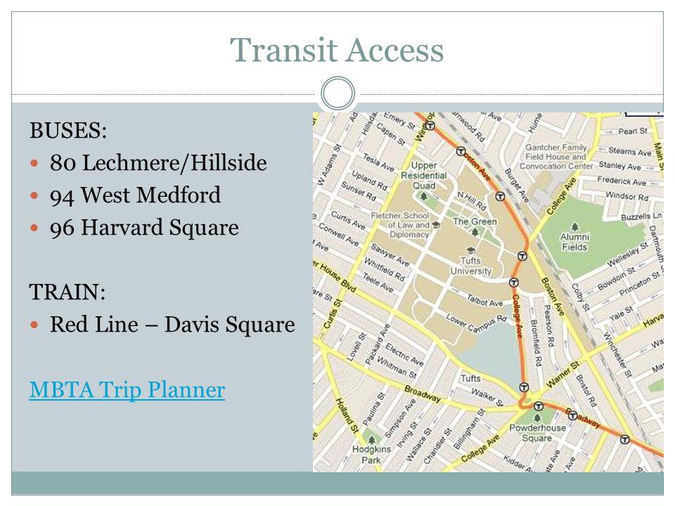 Transit Access BUSES: 80 Lechmere/Hillside 94 West Medford 96 Harvard Square TRAIN: Red Line – Davis Square MBTA Trip Planner