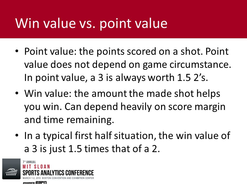 Win value vs. point value Point value: the points scored on a shot.