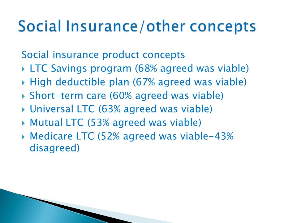 Social insurance product concepts  LTC Savings program (68% agreed was viable)  High deductible plan (67% agreed was viable)  Short-term care (60% agreed was viable)  Universal LTC (63% agreed was viable)  Mutual LTC (53% agreed was viable)  Medicare LTC (52% agreed was viable-43% disagreed)