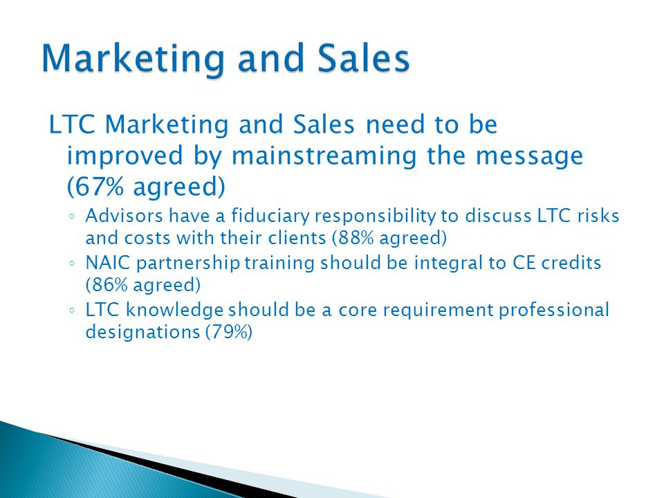 LTC Marketing and Sales need to be improved by mainstreaming the message (67% agreed) ◦ Advisors have a fiduciary responsibility to discuss LTC risks and costs with their clients (88% agreed) ◦ NAIC partnership training should be integral to CE credits (86% agreed) ◦ LTC knowledge should be a core requirement professional designations (79%)