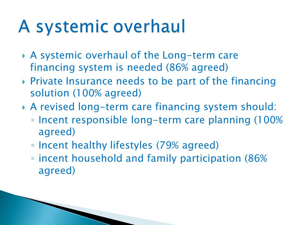  A systemic overhaul of the Long-term care financing system is needed (86% agreed)  Private Insurance needs to be part of the financing solution (100% agreed)  A revised long-term care financing system should: ◦ Incent responsible long-term care planning (100% agreed) ◦ Incent healthy lifestyles (79% agreed) ◦ incent household and family participation (86% agreed)