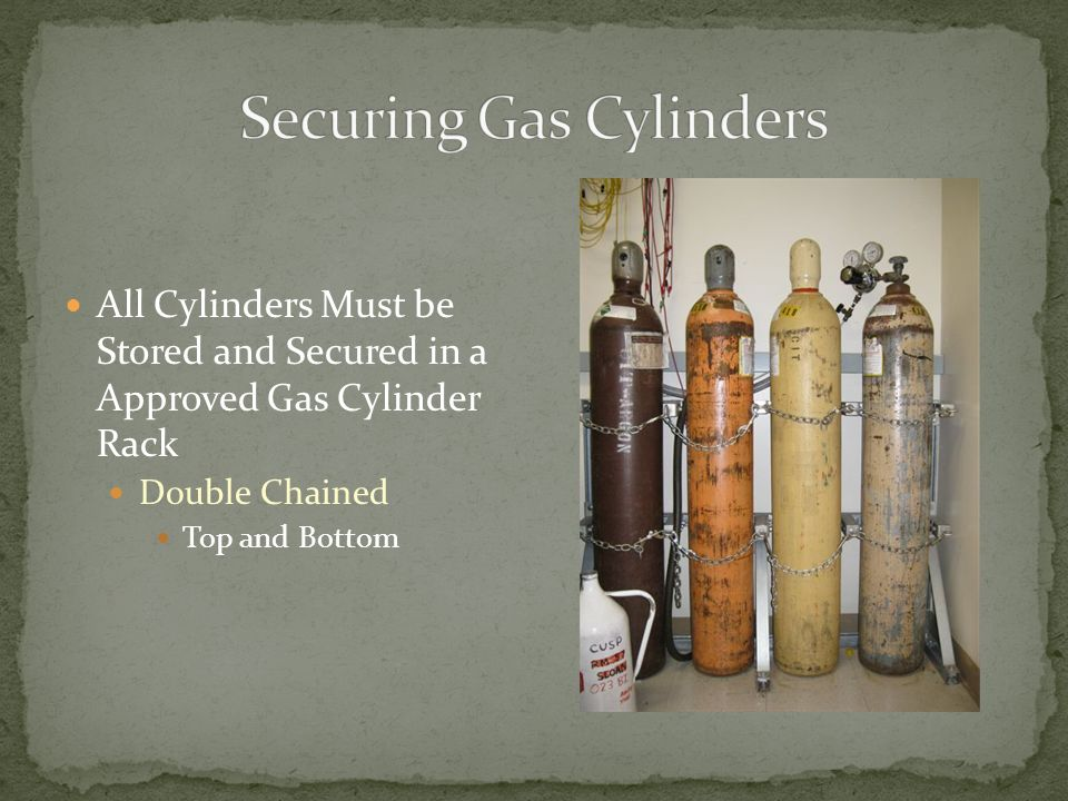 All Cylinders Must be Stored and Secured in a Approved Gas Cylinder Rack Double Chained Top and Bottom