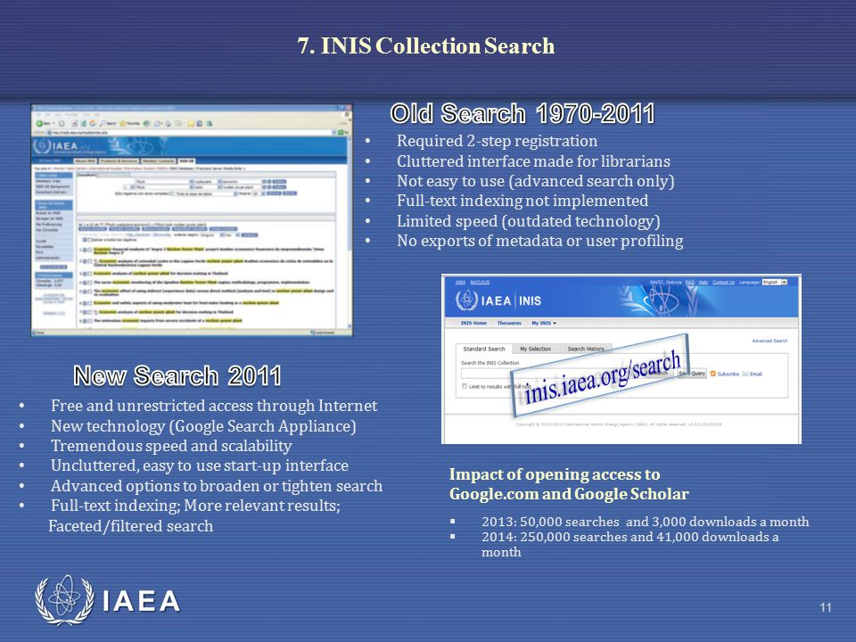 IAEA 7. INIS Collection Search Free and unrestricted access through Internet New technology (Google Search Appliance) Tremendous speed and scalability