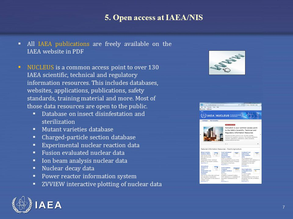 IAEA 8  Free, open and unrestricted access to the INIS Collection (3.6 million records and 320,000 full-texts); 152 members www.iaea.org/inis  Free and open cooperation with 50 member libraries of the International Nuclear Library Network (INLN)  IAEA Library offers free access to its collections and free information services to its users, including visitors to the Vienna International Centre (VIC) 5.