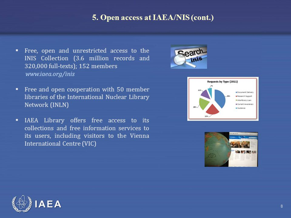 IAEA 8  Free, open and unrestricted access to the INIS Collection (3.6 million records and 320,000 full-texts); 152 members www.iaea.org/inis  Free and open cooperation with 50 member libraries of the International Nuclear Library Network (INLN)  IAEA Library offers free access to its collections and free information services to its users, including visitors to the Vienna International Centre (VIC) 5.
