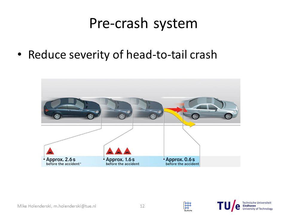 Mike Holenderski, m.holenderski@tue.nl Pre-crash system Reduce severity of head-to-tail crash 12