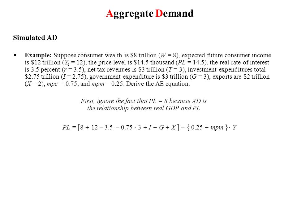 Aggregate Demand Simulated AD  Example: Suppose consumer wealth is $8 trillion (W = 8), expected future consumer income is $12 trillion (Y e = 12), the price level is $14.5 thousand (PL = 14.5), the real rate of interest is 3.5 percent (r = 3.5), net tax revenues is $3 trillion (T = 3), investment expenditures total $2.75 trillion (I = 2.75), government expenditure is $3 trillion (G = 3), exports are $2 trillion (X = 2), mpc = 0.75, and mpm = 0.25.