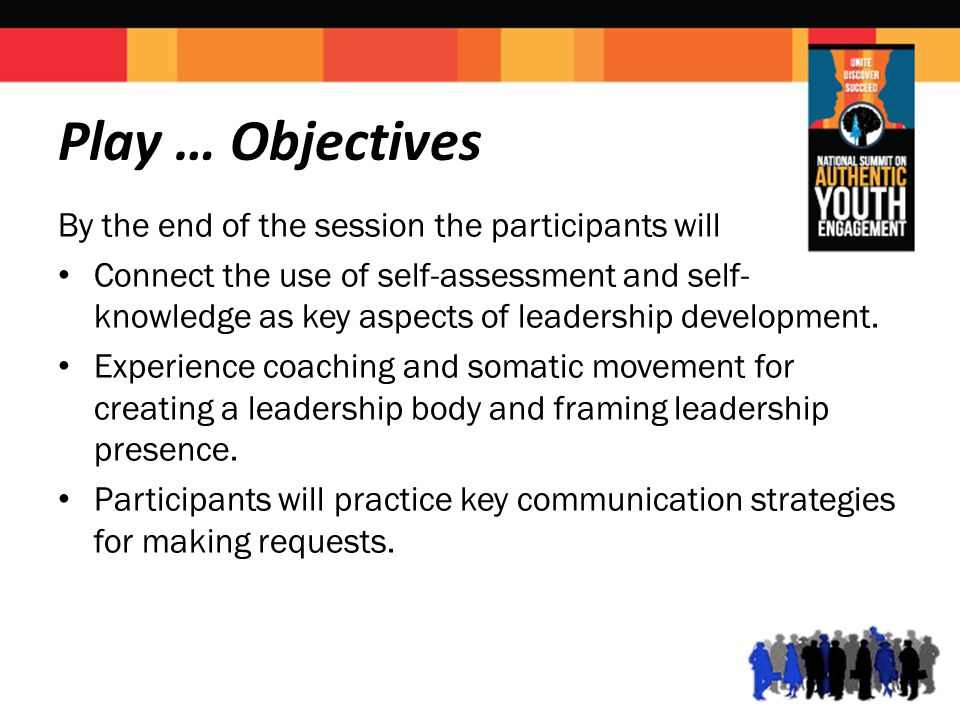 Play … Objectives By the end of the session the participants will Connect the use of self-assessment and self- knowledge as key aspects of leadership development.