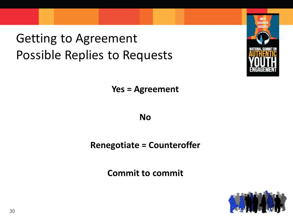 Getting to Agreement Possible Replies to Requests Yes = Agreement No Renegotiate = Counteroffer Commit to commit 30