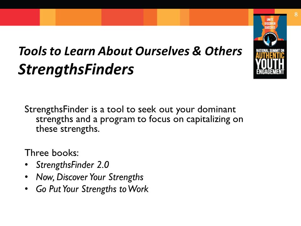 Time to Be Clear… StrengthsFinder gives you themes… not strengths; help you discern strengths Strengths are the things you do consistently & near perfectly Strengths have three ingredients: Talents, skills & knowledge