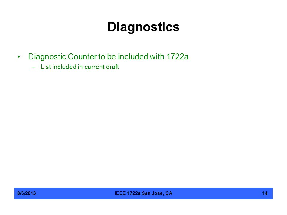 Diagnostics Diagnostic Counter to be included with 1722a –List included in current draft 8/6/2013IEEE 1722a San Jose, CA14