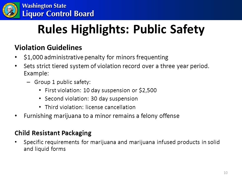 Rules Highlights: Public Safety Violation Guidelines $1,000 administrative penalty for minors frequenting Sets strict tiered system of violation record over a three year period.