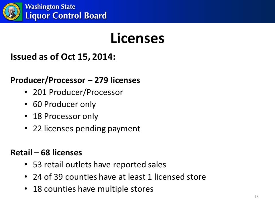 Licenses Issued as of Oct 15, 2014: Producer/Processor – 279 licenses 201 Producer/Processor 60 Producer only 18 Processor only 22 licenses pending payment Retail – 68 licenses 53 retail outlets have reported sales 24 of 39 counties have at least 1 licensed store 18 counties have multiple stores 15