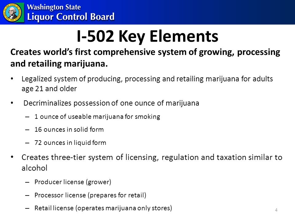 I-502 Key Elements Creates world's first comprehensive system of growing, processing and retailing marijuana.
