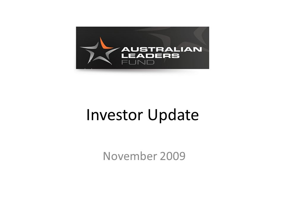 Investor Update November 2009
