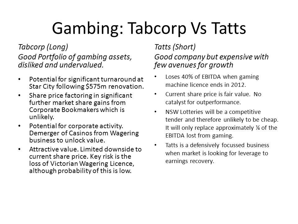 Gambing: Tabcorp Vs Tatts Tabcorp (Long) Good Portfolio of gambing assets, disliked and undervalued.