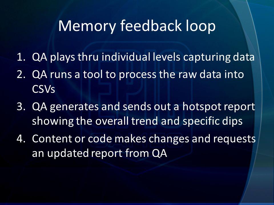 Memory feedback loop 1.QA plays thru individual levels capturing data 2.QA runs a tool to process the raw data into CSVs 3.QA generates and sends out