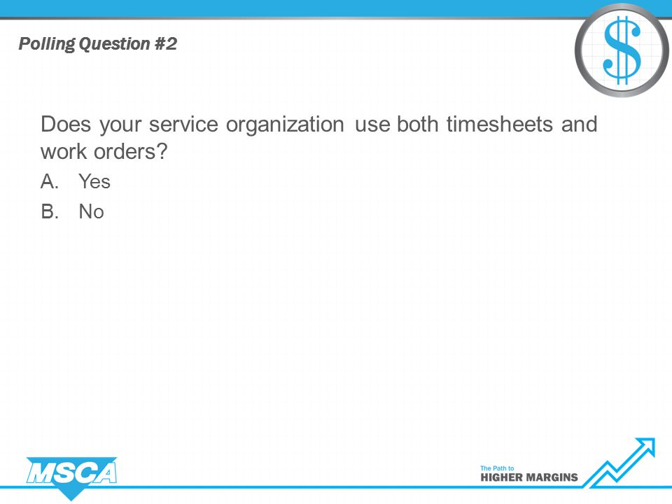 Does your service organization use both timesheets and work orders A.Yes B.No Polling Question #2