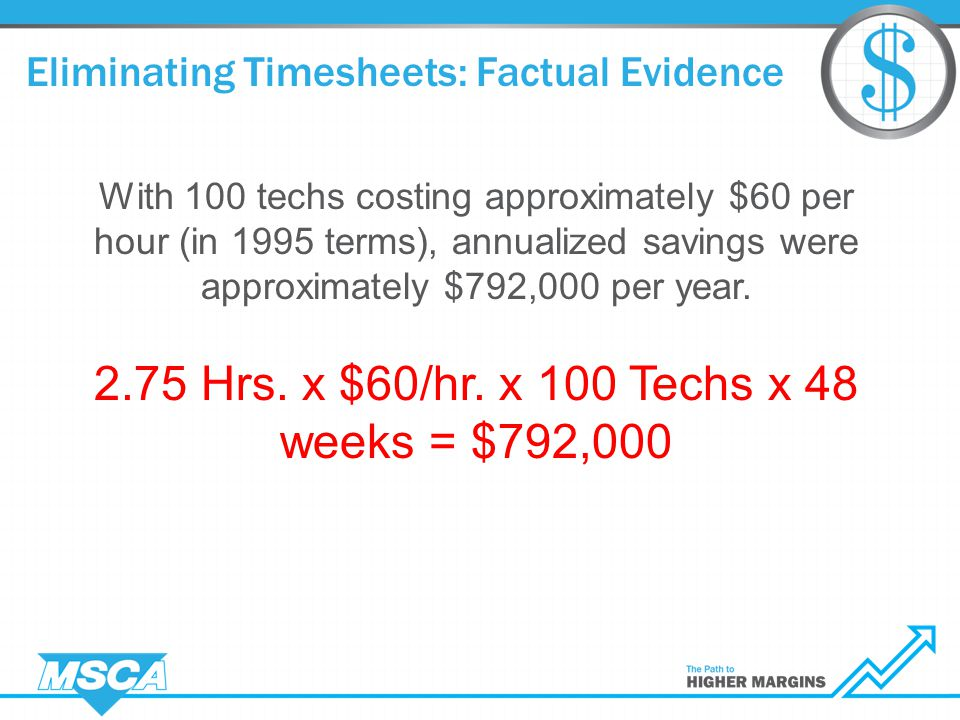 Eliminating Timesheets: Factual Evidence With 100 techs costing approximately $60 per hour (in 1995 terms), annualized savings were approximately $792,000 per year.