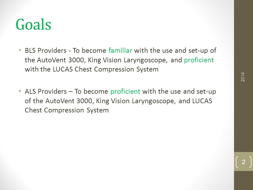 King Vision Laryngoscope General Technique Not the same as with direct laryngoscopy Three fingers and slide into place 23 2014