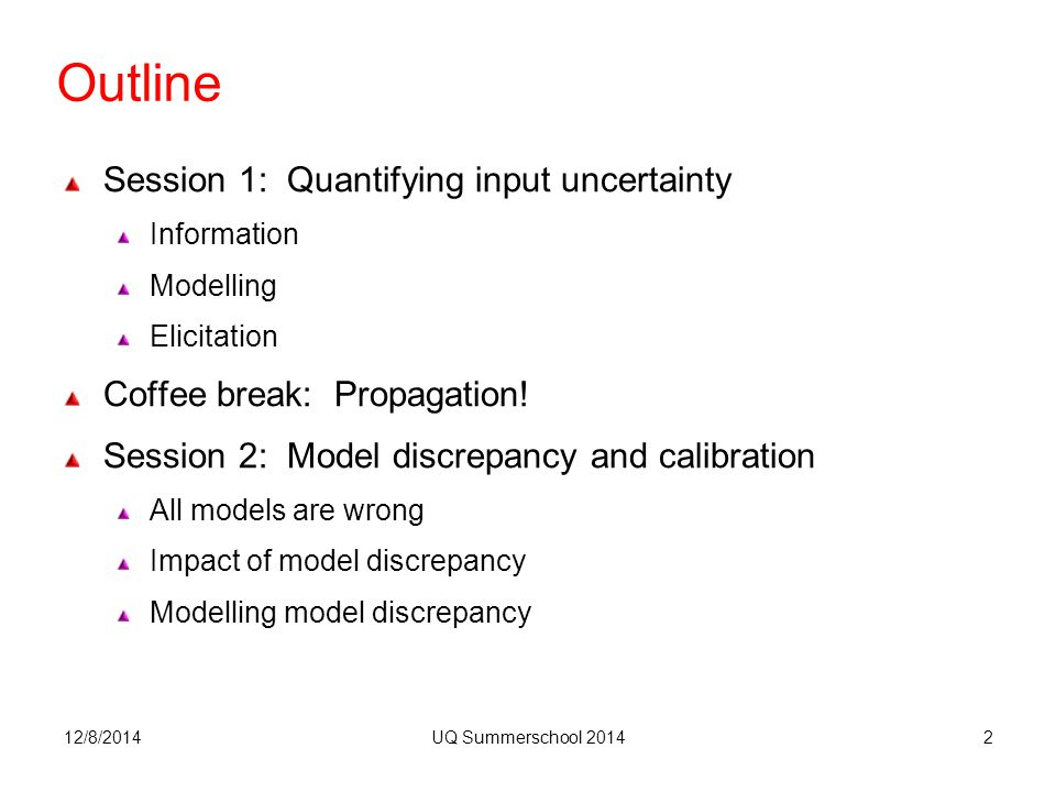 Outline Session 1: Quantifying input uncertainty Information Modelling Elicitation Coffee break: Propagation.