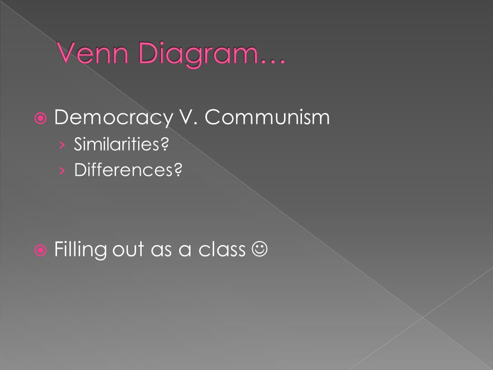  Democracy V. Communism › Similarities › Differences  Filling out as a class