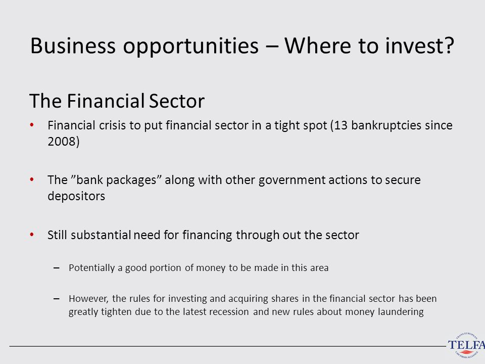 Business opportunities – Where to invest? The Financial Sector Financial crisis to put financial sector in a tight spot (13 bankruptcies since 2008) T