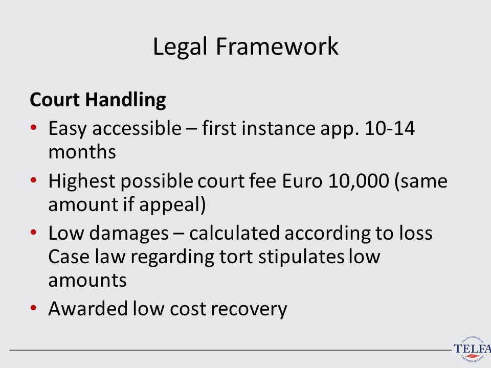 Legal Framework Court Handling Easy accessible – first instance app.
