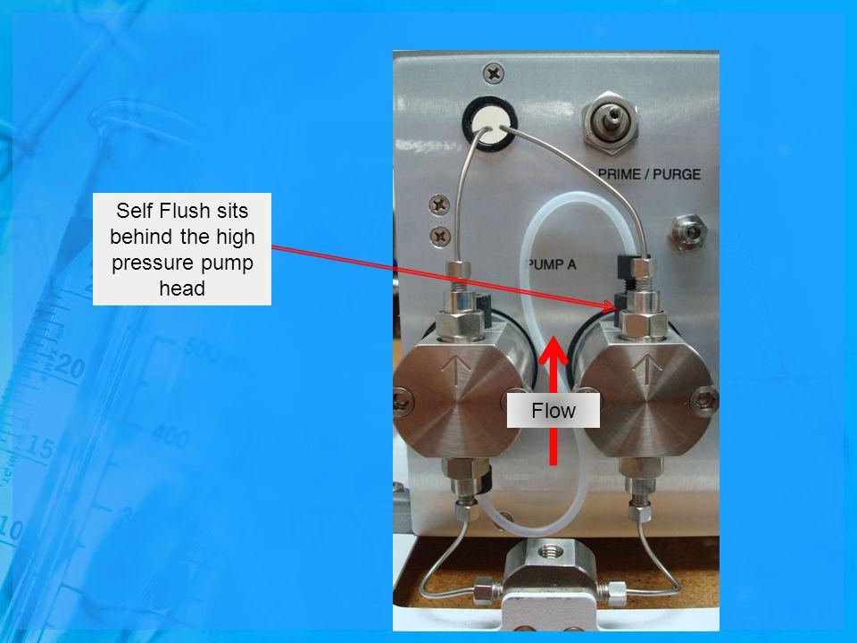 Flow Self Flush sits behind the high pressure pump head