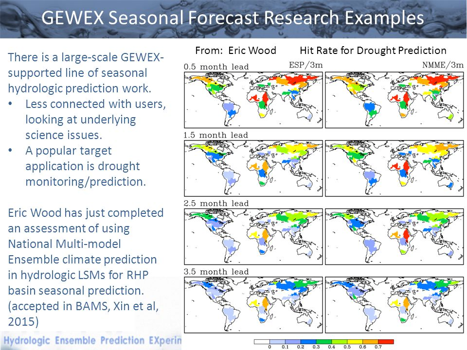 GEWEX Seasonal Forecast Research Examples There is a large-scale GEWEX- supported line of seasonal hydrologic prediction work.