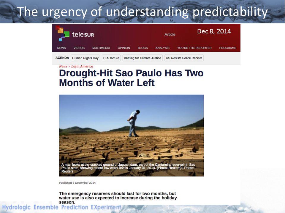 The urgency of understanding predictability Dec 8, 2014