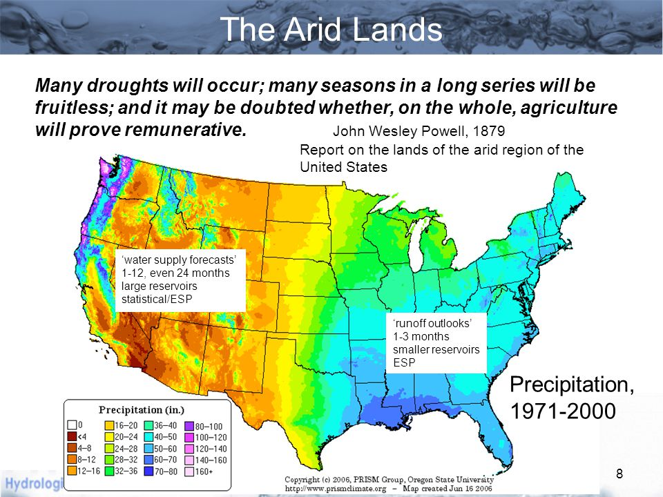 Colorado River  25 million people in 7 states rely on Colorado River water  3.5 million acres of irrigation  85% of runoff comes from above 9000 feet  Mean annual discharge is … (?)  Storage capacity is about 60 MAF (4- 5 times mean annual flow)