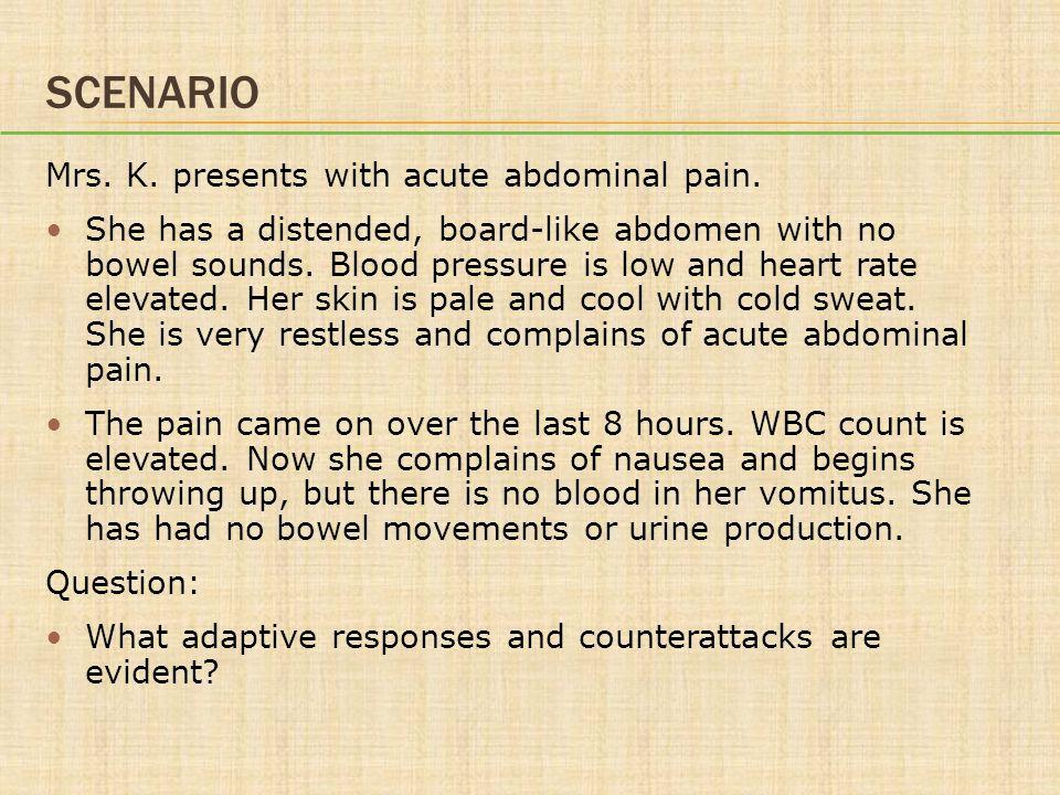 SCENARIO Mrs.K. presents with acute abdominal pain.