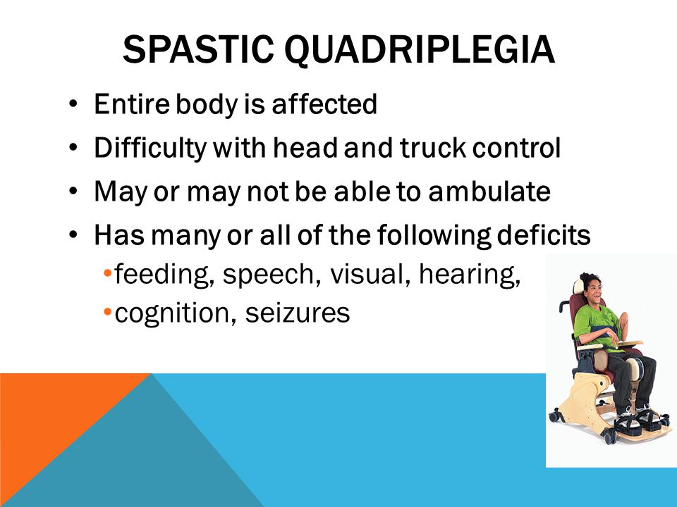 SPASTIC QUADRIPLEGIA Entire body is affected Difficulty with head and truck control May or may not be able to ambulate Has many or all of the following deficits feeding, speech, visual, hearing, cognition, seizures