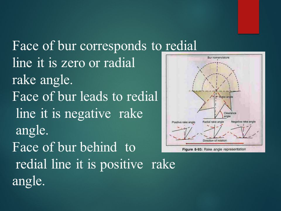 Face of bur corresponds to redial line it is zero or radial rake angle. Face of bur leads to redial line it is negative rake angle. Face of bur behind