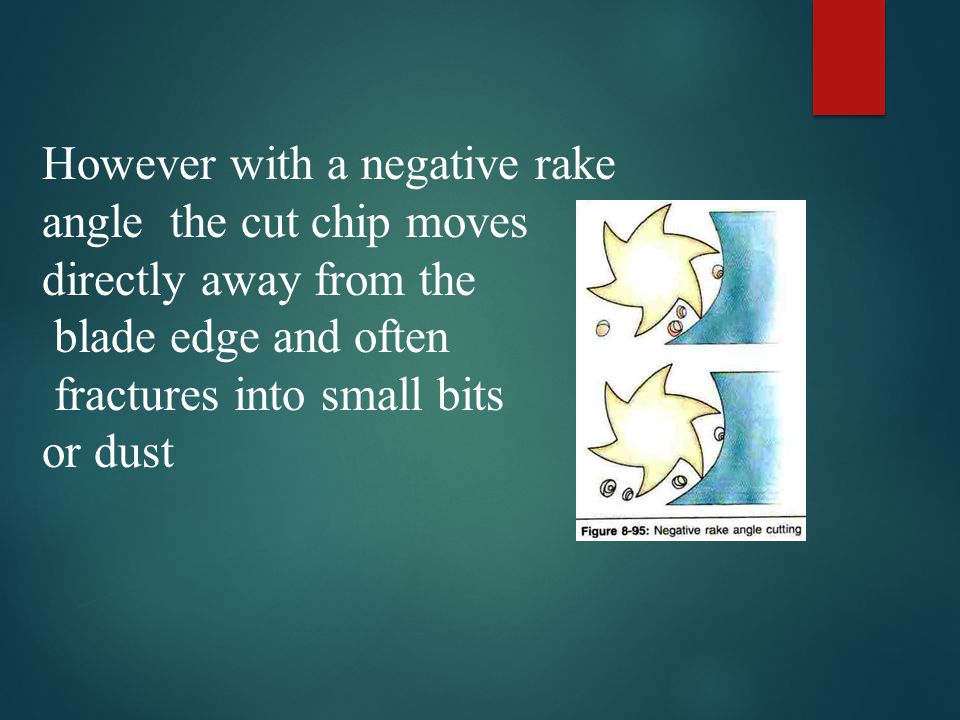 However with a negative rake angle the cut chip moves directly away from the blade edge and often fractures into small bits or dust
