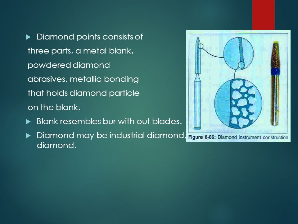 Diamond points consists of three parts, a metal blank, powdered diamond abrasives, metallic bonding that holds diamond particle on the blank.  Blan